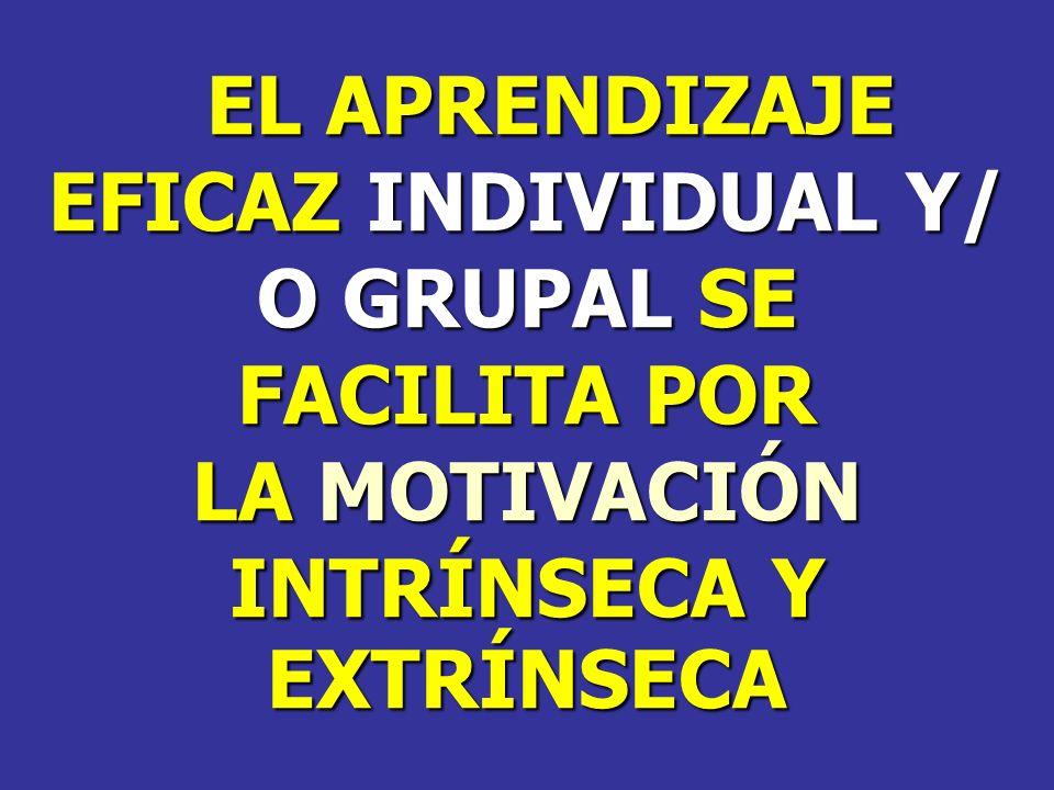 EL APRENDIZAJE EFICAZ INDIVIDUAL Y/ O GRUPAL SE.