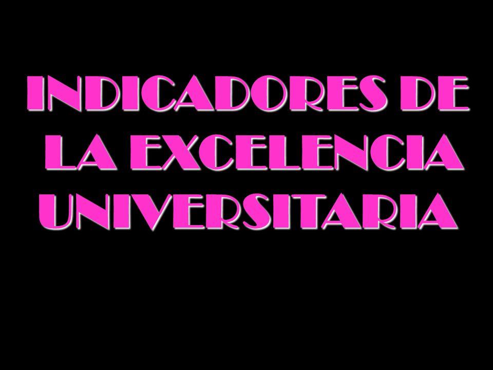 INDICADORES DE LA EXCELENCIA UNIVERSITARIA