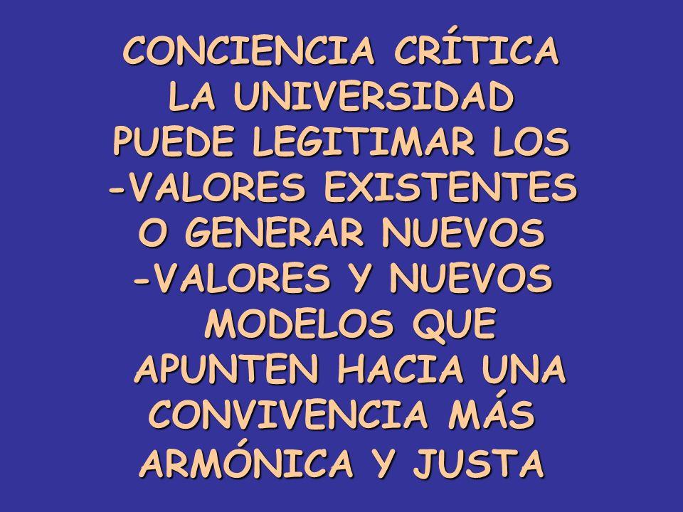 CONCIENCIA CRÍTICA LA UNIVERSIDAD. PUEDE LEGITIMAR LOS. -VALORES EXISTENTES. O GENERAR NUEVOS. -VALORES Y NUEVOS.
