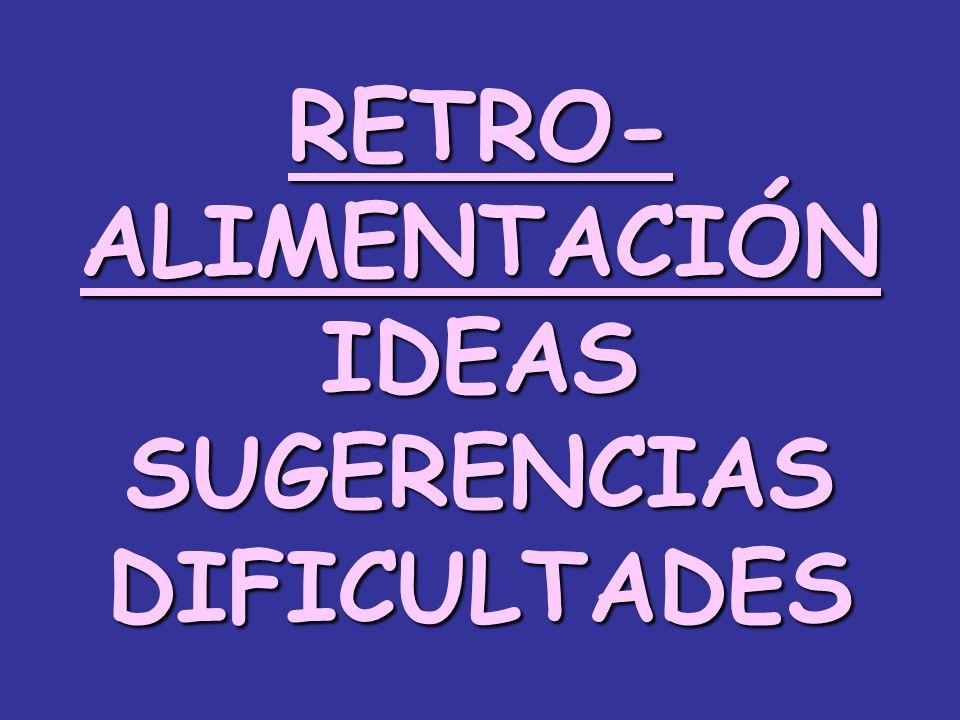 RETRO- ALIMENTACIÓN IDEAS SUGERENCIAS DIFICULTADES