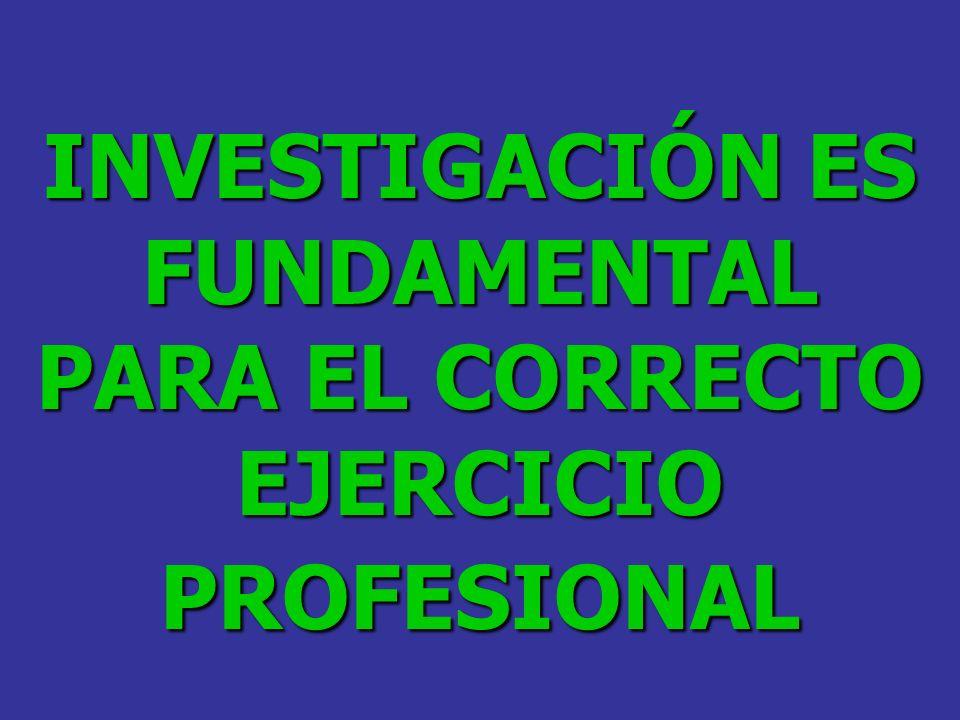 INVESTIGACIÓN ES FUNDAMENTAL PARA EL CORRECTO EJERCICIO PROFESIONAL