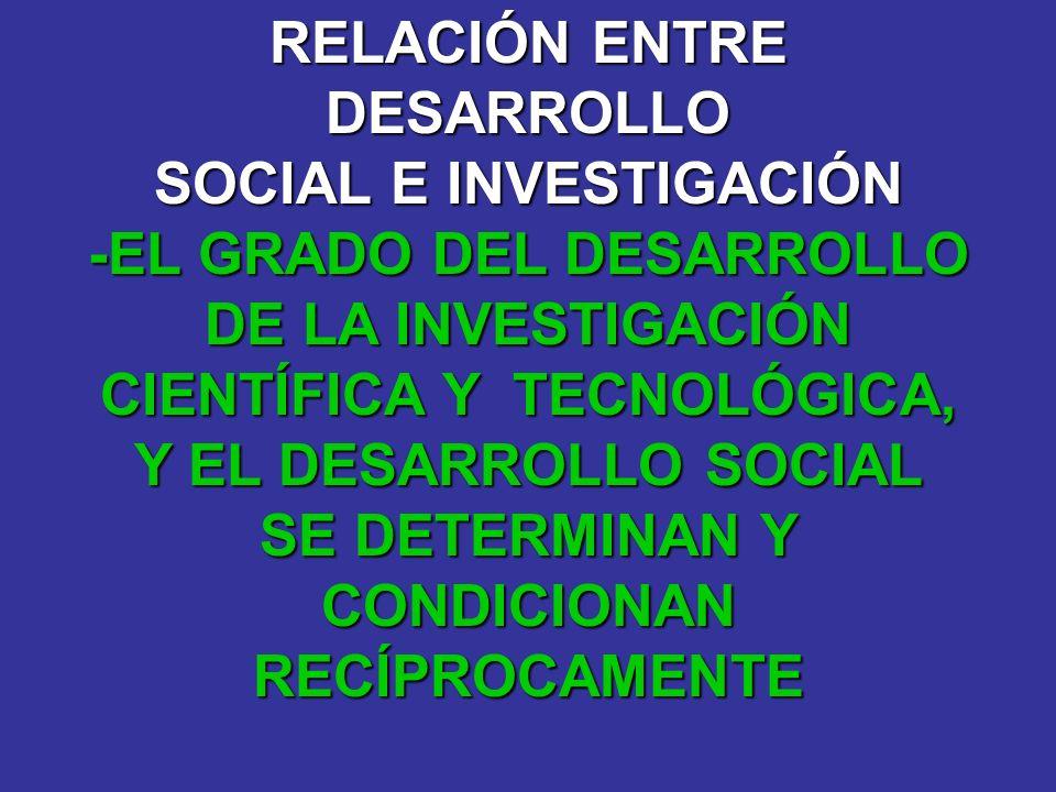 SOCIAL E INVESTIGACIÓN -EL GRADO DEL DESARROLLO DE LA INVESTIGACIÓN