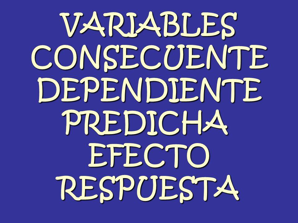 VARIABLES CONSECUENTE DEPENDIENTE PREDICHA EFECTO RESPUESTA