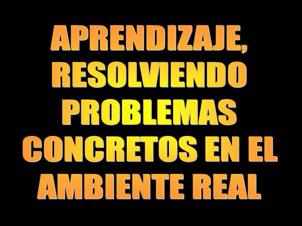 APRENDIZAJE, RESOLVIENDO PROBLEMAS CONCRETOS EN EL AMBIENTE REAL