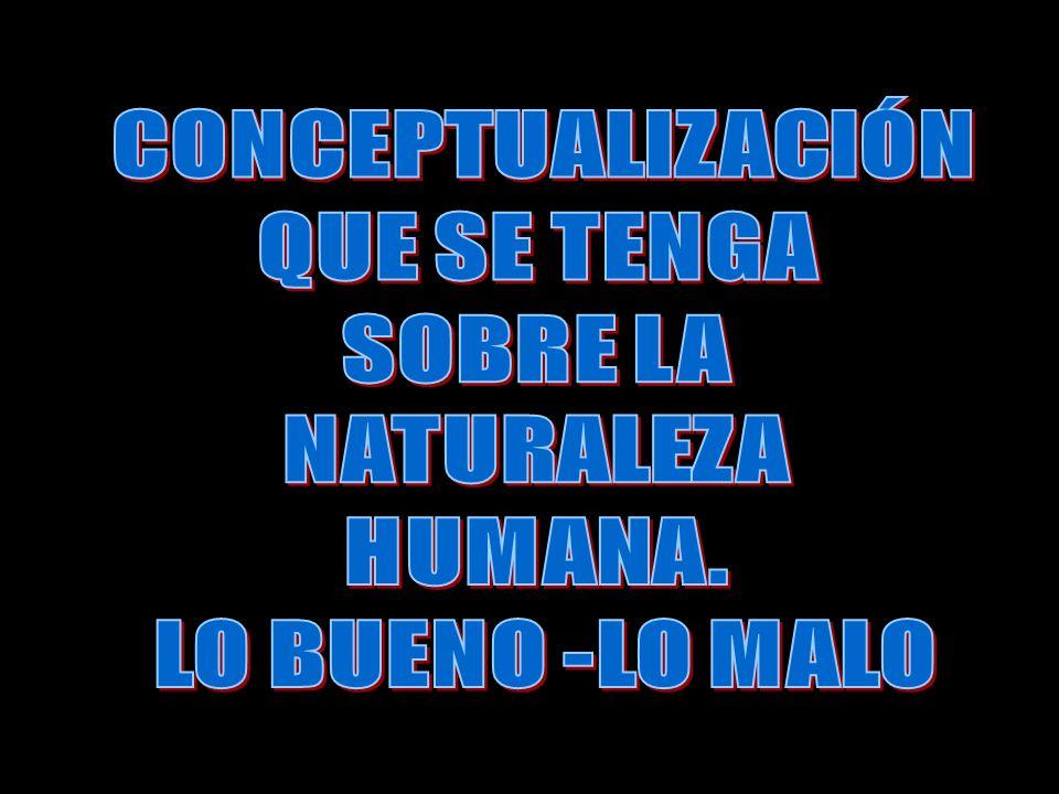 CONCEPTUALIZACIÓN QUE SE TENGA SOBRE LA NATURALEZA HUMANA. LO BUENO -LO MALO