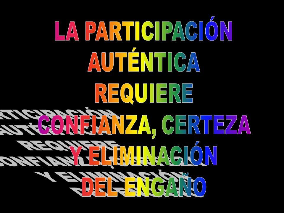 LA PARTICIPACIÓN AUTÉNTICA REQUIERE CONFIANZA, CERTEZA Y ELIMINACIÓN DEL ENGAÑO