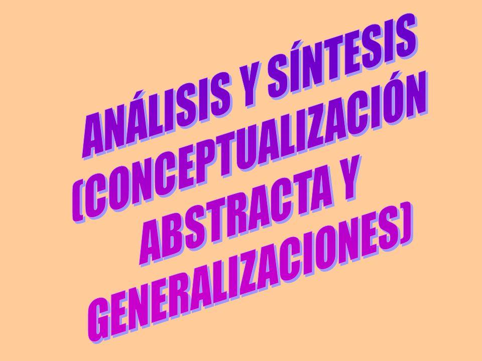 ANÁLISIS Y SÍNTESIS (CONCEPTUALIZACIÓN ABSTRACTA Y GENERALIZACIONES)