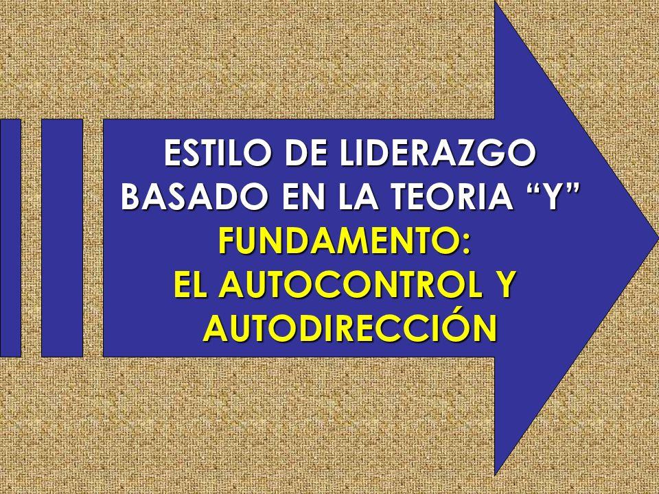 ESTILO DE LIDERAZGO BASADO EN LA TEORIA Y FUNDAMENTO: EL AUTOCONTROL Y AUTODIRECCIÓN