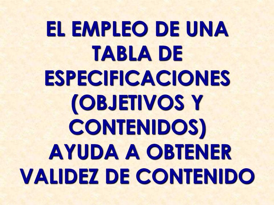 TABLA DE ESPECIFICACIONES (OBJETIVOS Y CONTENIDOS)