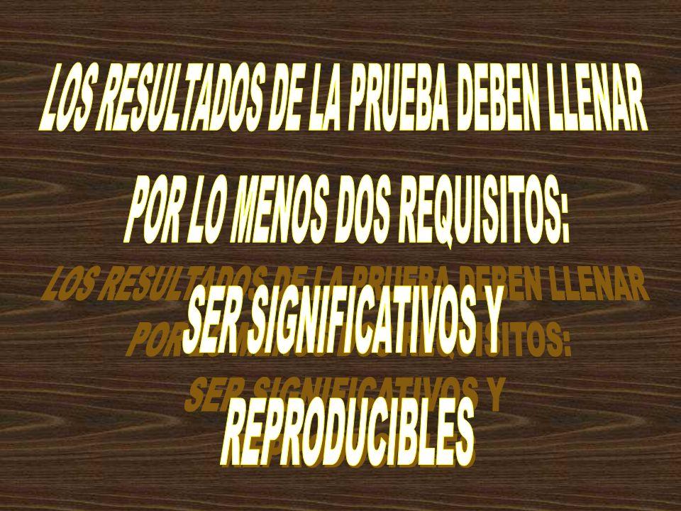 LOS RESULTADOS DE LA PRUEBA DEBEN LLENAR POR LO MENOS DOS REQUISITOS: