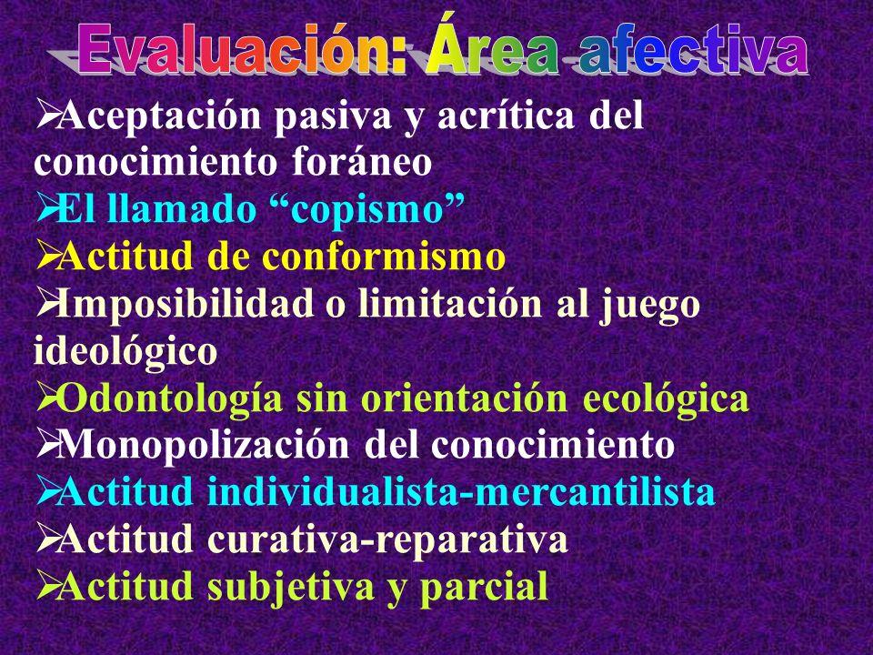 Evaluación: Área afectiva