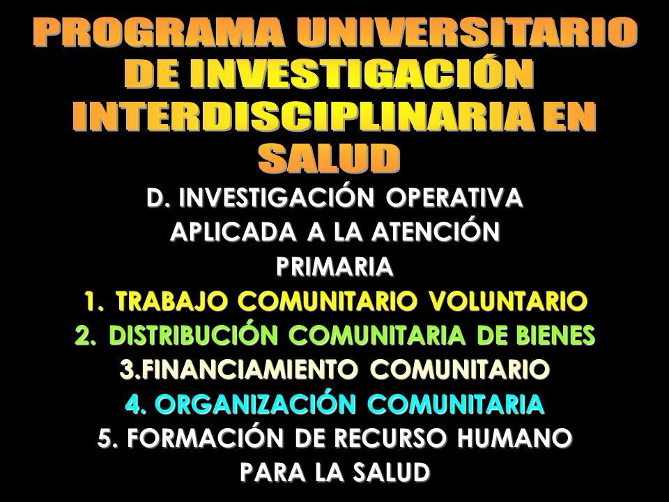 PROGRAMA UNIVERSITARIO DE INVESTIGACIÓN INTERDISCIPLINARIA EN SALUD