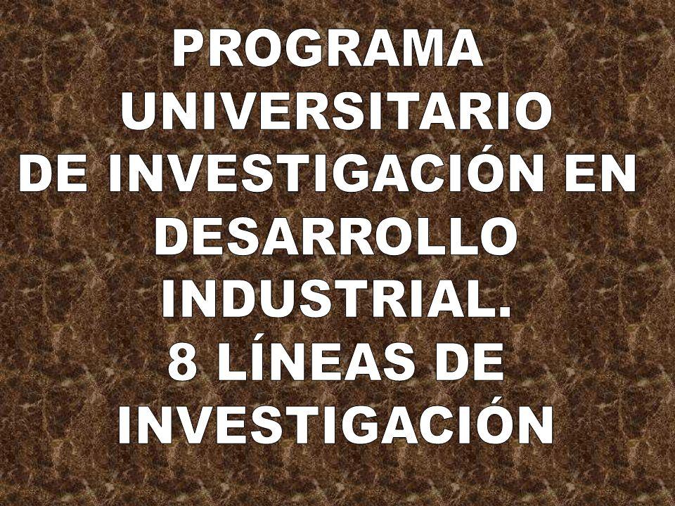 PROGRAMA UNIVERSITARIO DE INVESTIGACIÓN EN DESARROLLO INDUSTRIAL. 8 LÍNEAS DE INVESTIGACIÓN
