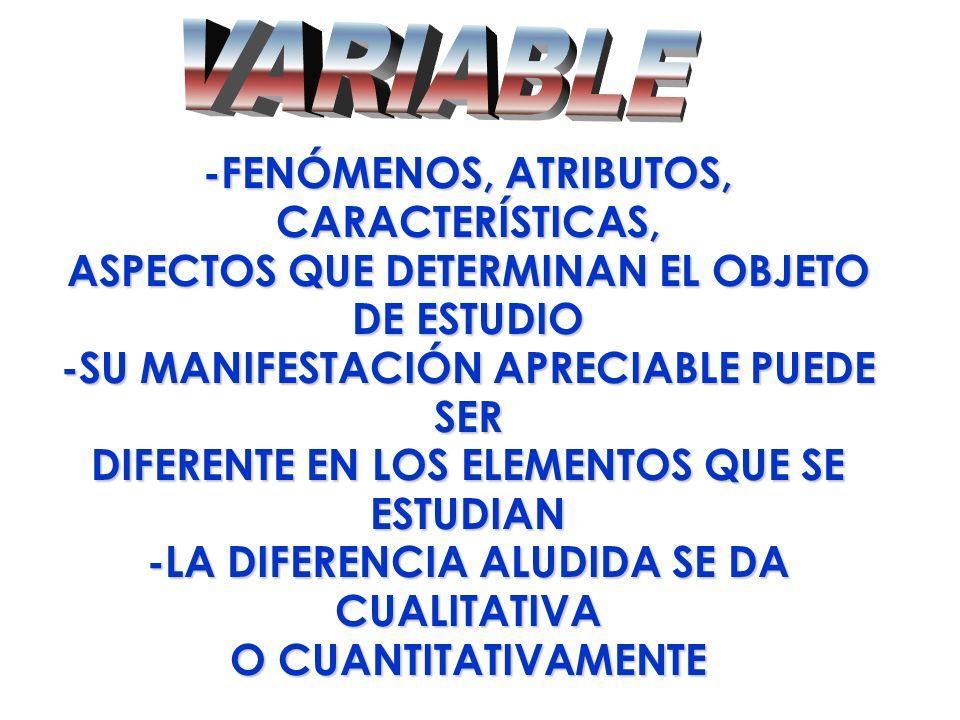 VARIABLE -FENÓMENOS, ATRIBUTOS, CARACTERÍSTICAS,