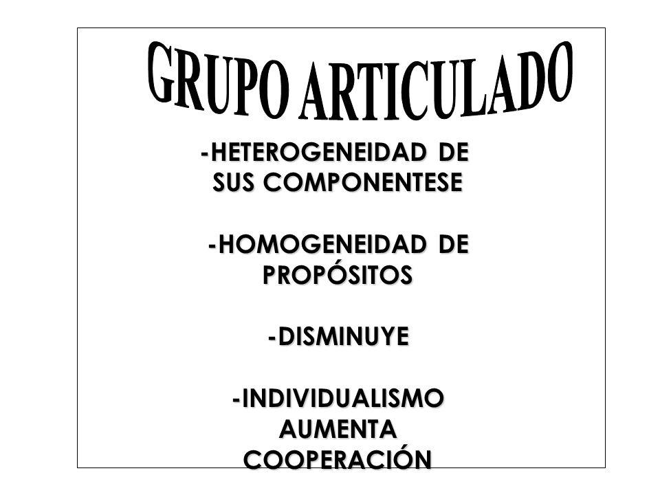 GRUPO ARTICULADO -HETEROGENEIDAD DE SUS COMPONENTESE -HOMOGENEIDAD DE