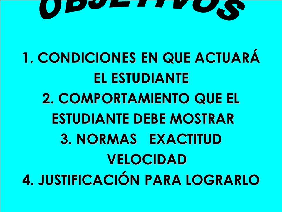 1. CONDICIONES EN QUE ACTUARÁ EL ESTUDIANTE 2. COMPORTAMIENTO QUE EL