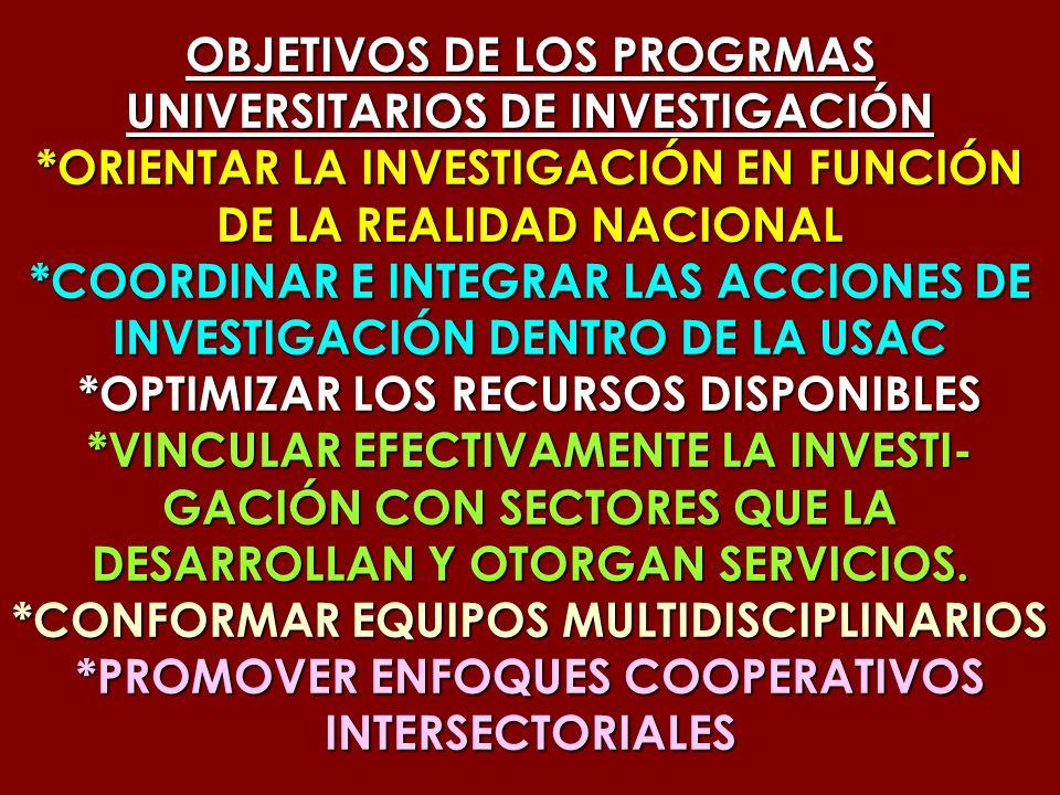 OBJETIVOS DE LOS PROGRMAS UNIVERSITARIOS DE INVESTIGACIÓN