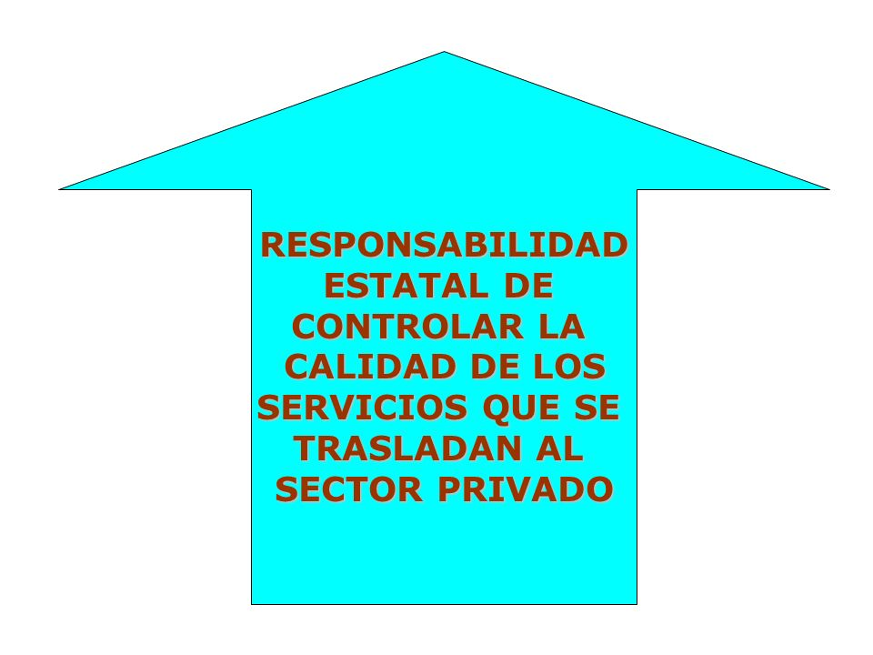 RESPONSABILIDAD ESTATAL DE CONTROLAR LA CALIDAD DE LOS SERVICIOS QUE SE TRASLADAN AL SECTOR PRIVADO