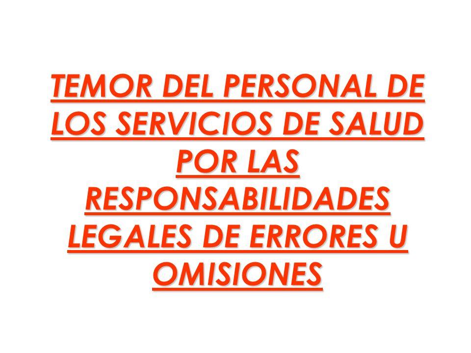 TEMOR DEL PERSONAL DE LOS SERVICIOS DE SALUD POR LAS RESPONSABILIDADES LEGALES DE ERRORES U OMISIONES