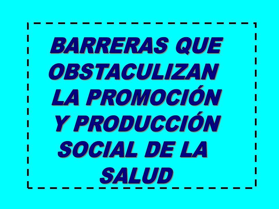 BARRERAS QUE OBSTACULIZAN LA PROMOCIÓN Y PRODUCCIÓN SOCIAL DE LA SALUD
