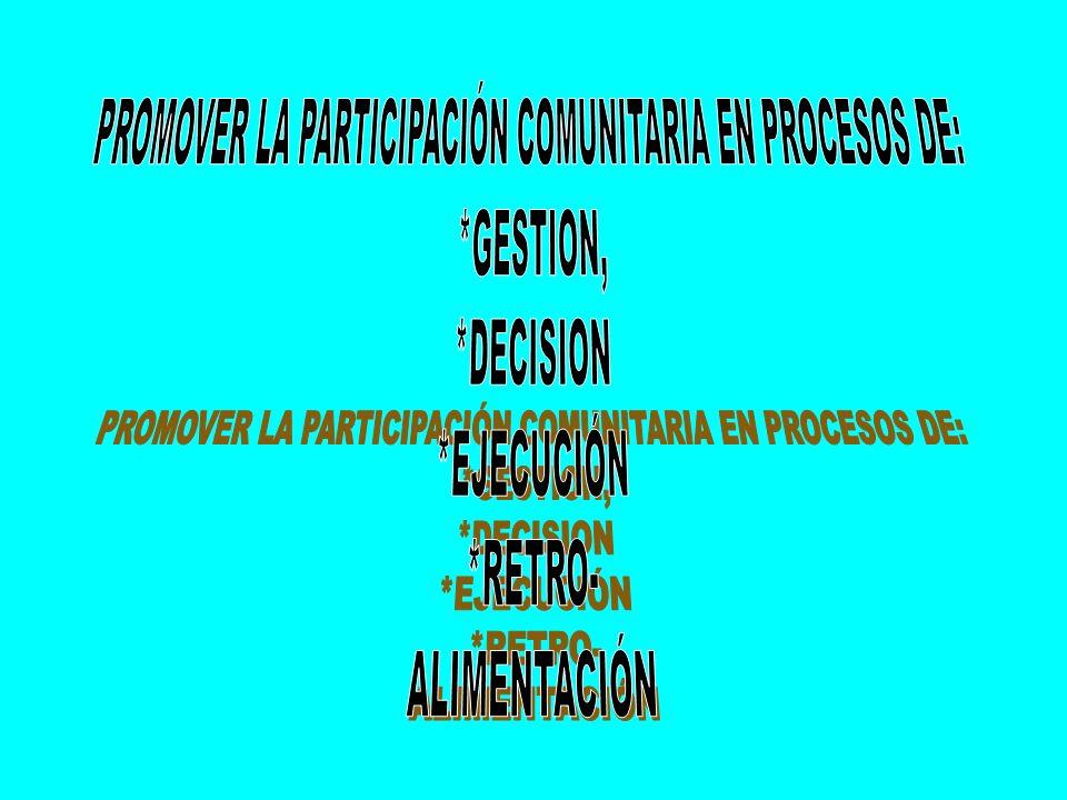 PROMOVER LA PARTICIPACIÓN COMUNITARIA EN PROCESOS DE: