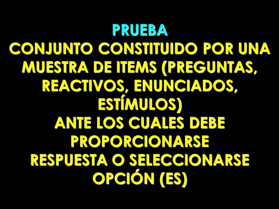 CONJUNTO CONSTITUIDO POR UNA MUESTRA DE ITEMS (PREGUNTAS,