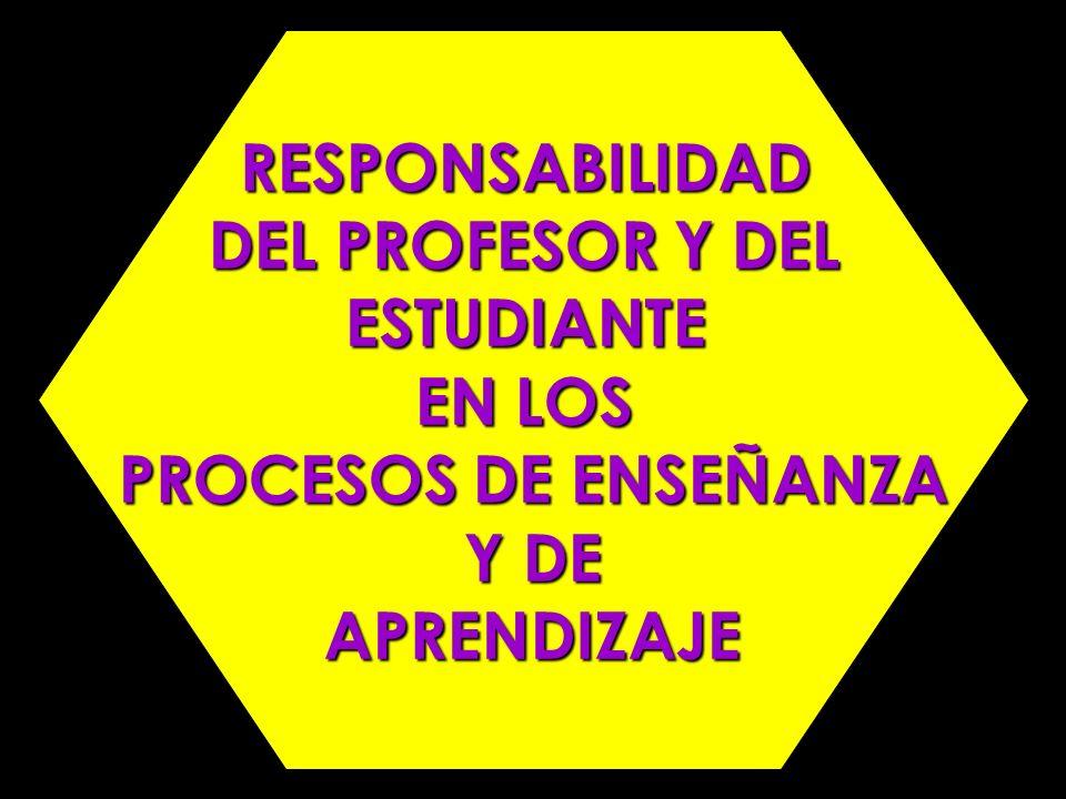 RESPONSABILIDAD DEL PROFESOR Y DEL ESTUDIANTE EN LOS PROCESOS DE ENSEÑANZA Y DE APRENDIZAJE