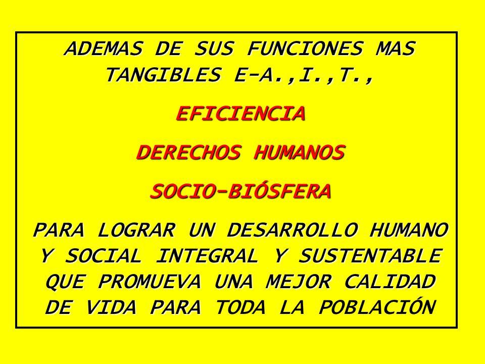 ADEMAS DE SUS FUNCIONES MAS TANGIBLES E-A.,I.,T.,