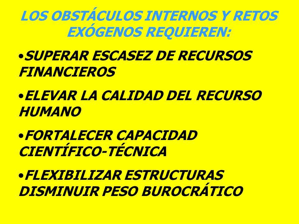 LOS OBSTÁCULOS INTERNOS Y RETOS EXÓGENOS REQUIEREN: