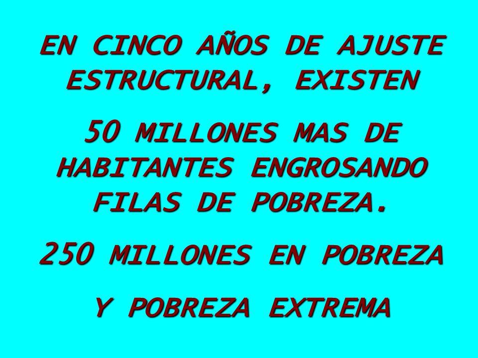 EN CINCO AÑOS DE AJUSTE ESTRUCTURAL, EXISTEN