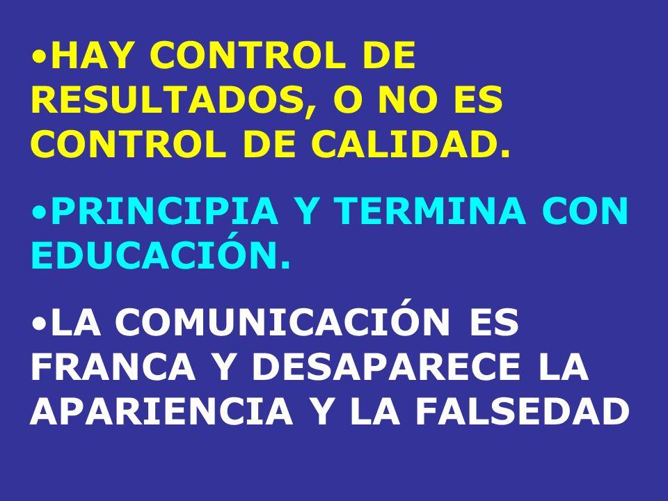 HAY CONTROL DE RESULTADOS, O NO ES CONTROL DE CALIDAD.