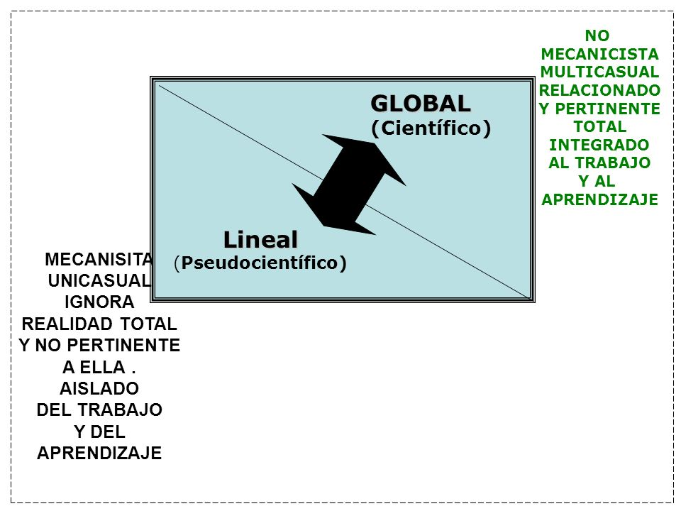 GLOBAL Lineal (Científico) MECANISITA UNICASUAL IGNORA REALIDAD TOTAL