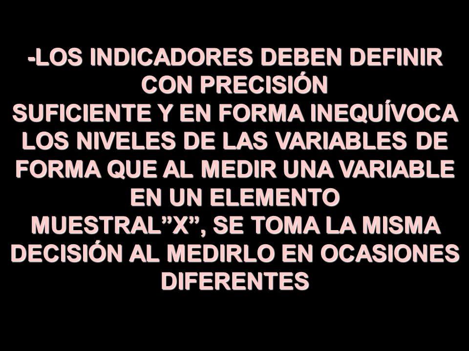 -LOS INDICADORES DEBEN DEFINIR CON PRECISIÓN