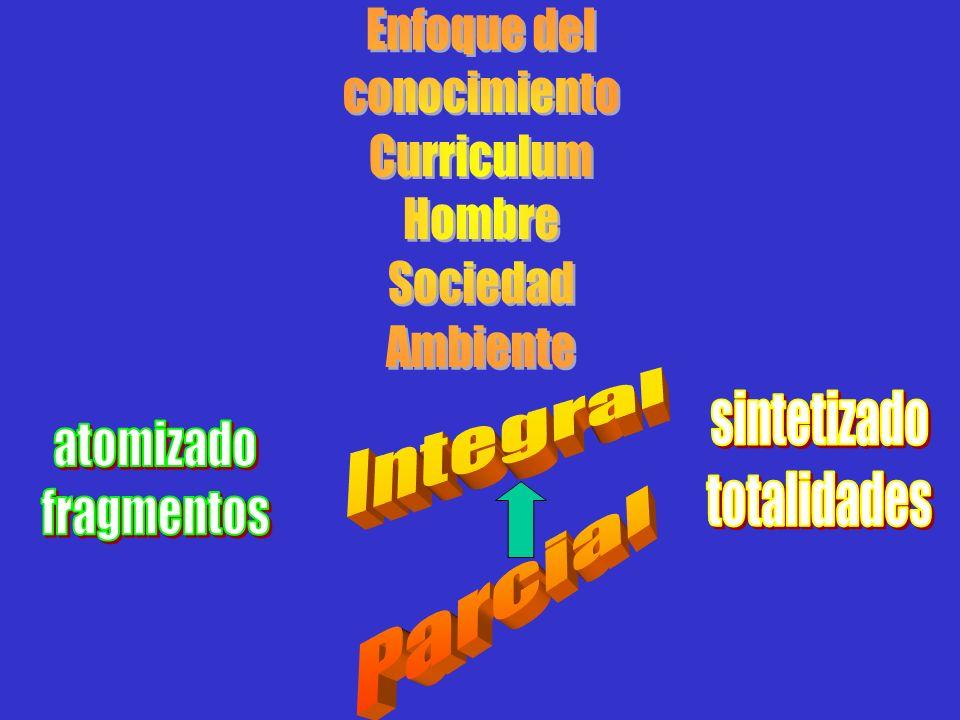 Enfoque delconocimiento. Curriculum. Hombre. Sociedad. Ambiente. Integral. Parcial. sintetizado. totalidades.