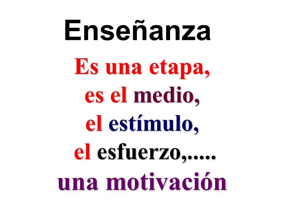 Enseñanza una motivación Es una etapa, es el medio, el estímulo,