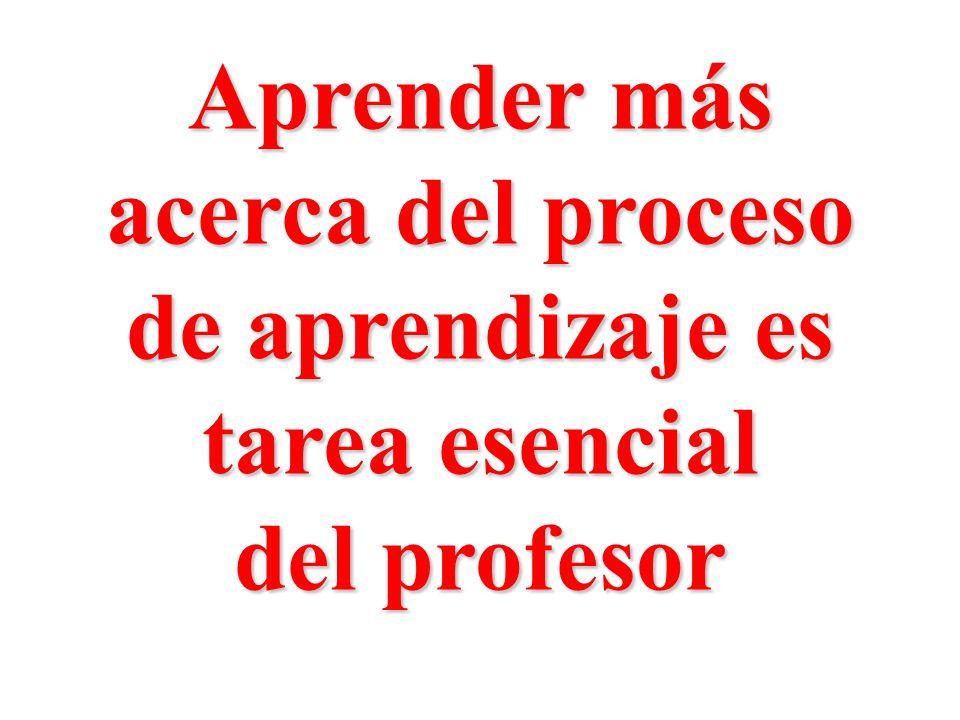 Aprender más acerca del proceso de aprendizaje es tarea esencial del profesor