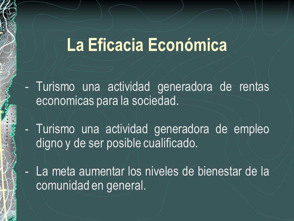 La Eficacia Económica - Turismo una actividad generadora de rentas economicas para la sociedad.