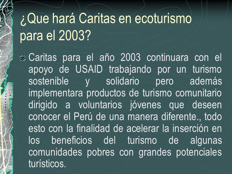 ¿Que hará Caritas en ecoturismo para el 2003