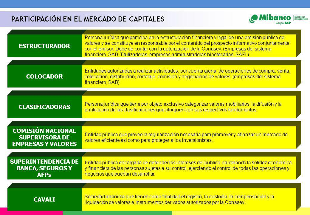 PARTICIPACIÓN EN EL MERCADO DE CAPITALES