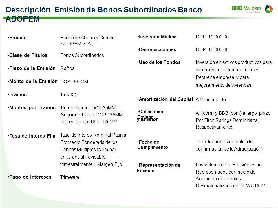 Descripción Emisión de Bonos Subordinados Banco ADOPEM