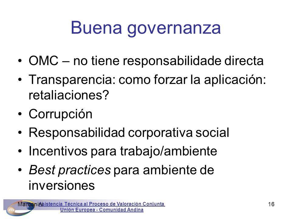Buena governanza OMC – no tiene responsabilidade directa