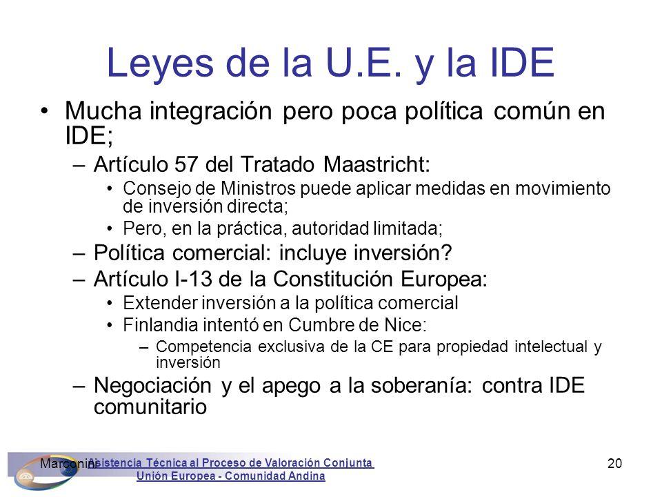 Leyes de la U.E. y la IDE Mucha integración pero poca política común en IDE; Artículo 57 del Tratado Maastricht: