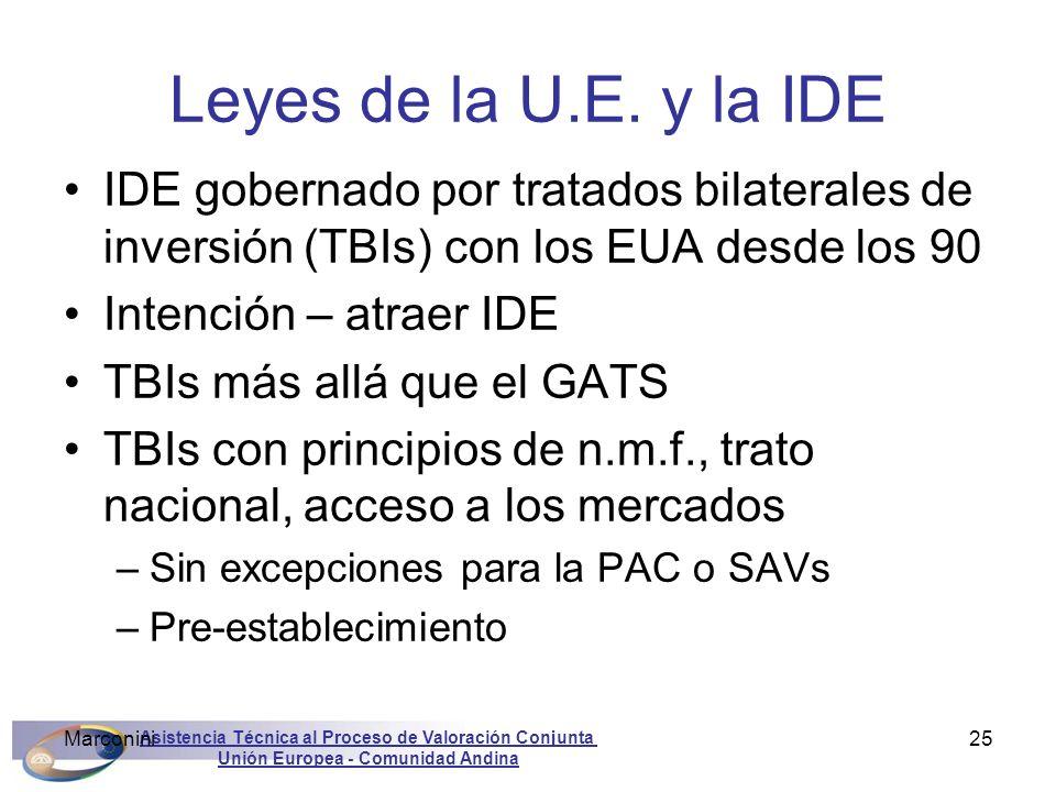 Leyes de la U.E. y la IDE IDE gobernado por tratados bilaterales de inversión (TBIs) con los EUA desde los 90.