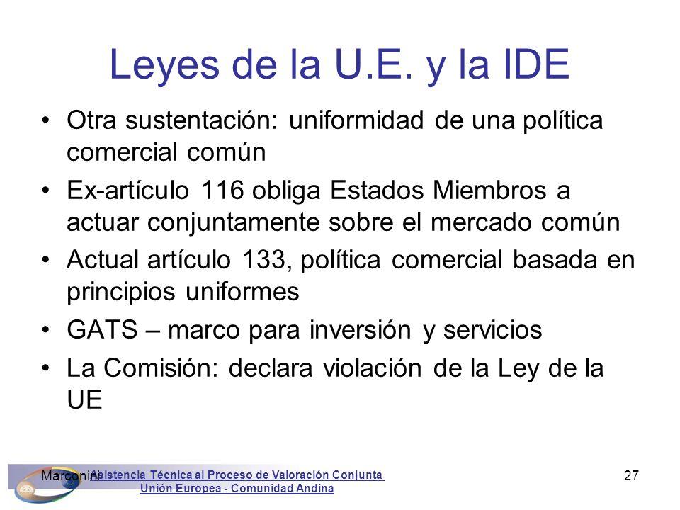 Leyes de la U.E. y la IDE Otra sustentación: uniformidad de una política comercial común.
