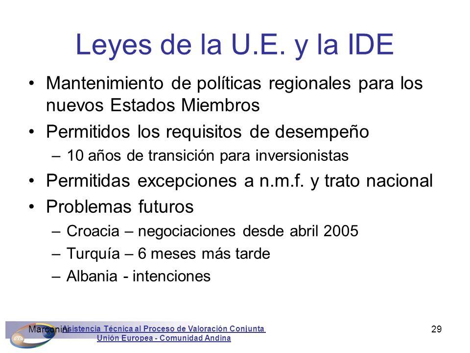 Leyes de la U.E. y la IDE Mantenimiento de políticas regionales para los nuevos Estados Miembros. Permitidos los requisitos de desempeño.
