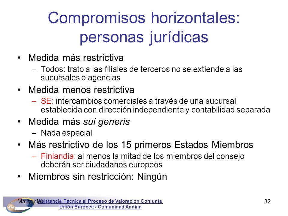 Compromisos horizontales: personas jurídicas