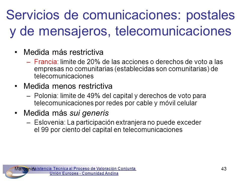 Servicios de comunicaciones: postales y de mensajeros, telecomunicaciones