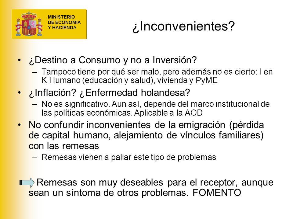 ¿Inconvenientes ¿Destino a Consumo y no a Inversión
