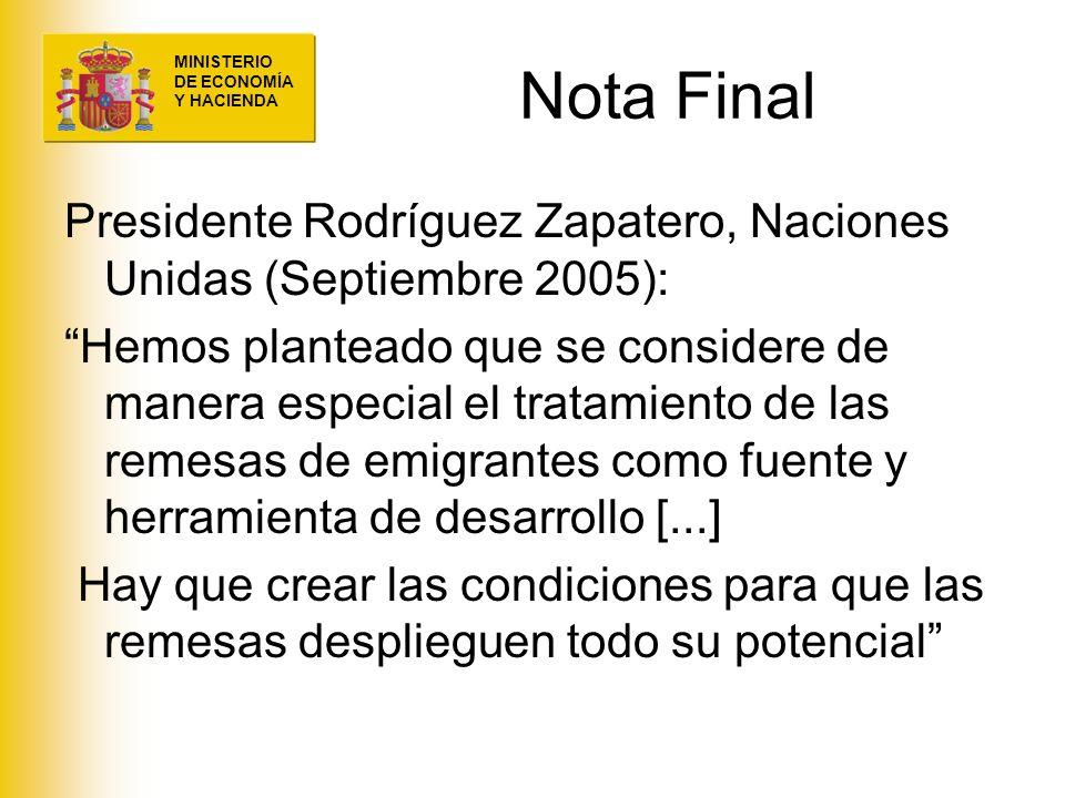 Nota Final Presidente Rodríguez Zapatero, Naciones Unidas (Septiembre 2005):