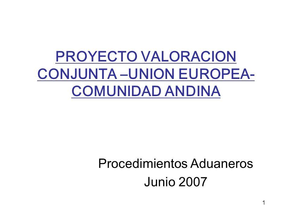 PROYECTO VALORACION CONJUNTA –UNION EUROPEA-COMUNIDAD ANDINA